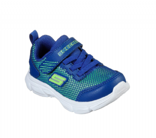 Kids Skechers 95022 BLLM Advance Intergrid Blue Lime Trainers